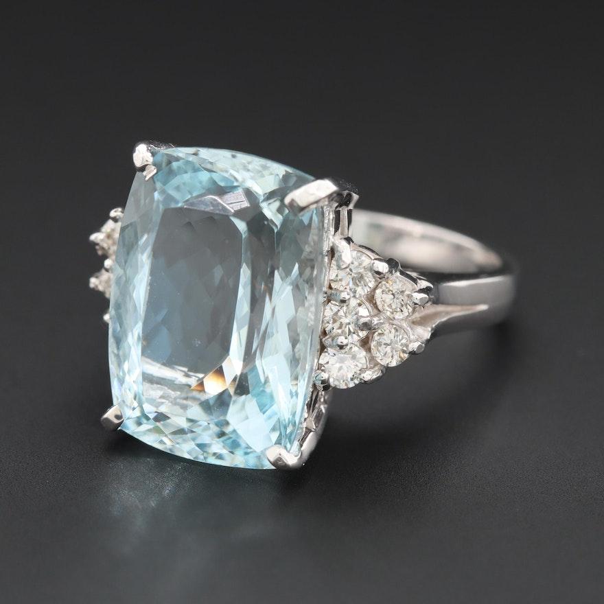 14K White Gold 9.62 CT Aquamarine and Diamond Ring