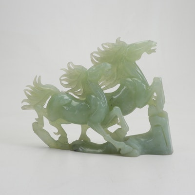 Chinese Carved Soapstone Sculpture of Horses