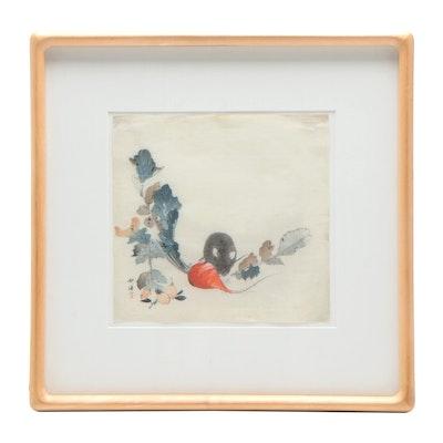 "Tsukioka Kōgyo Hand Embellished Woodblock Print ""Rat and Radish"""