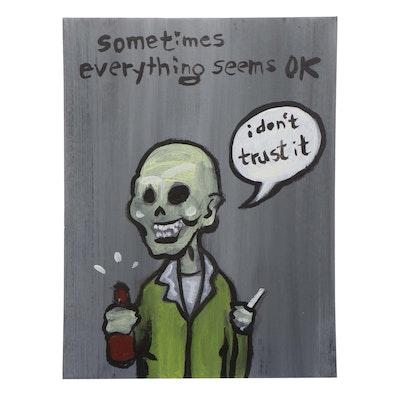"N. Scott Carroll Outsider Art Acrylic Painting ""Sometimes Everything Seems OK"""