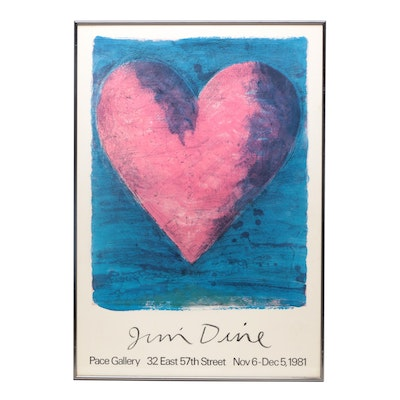 "Offset Lithograph Exhibition Poster After Jim Dine ""A Heart on Rue de Grenelle"""