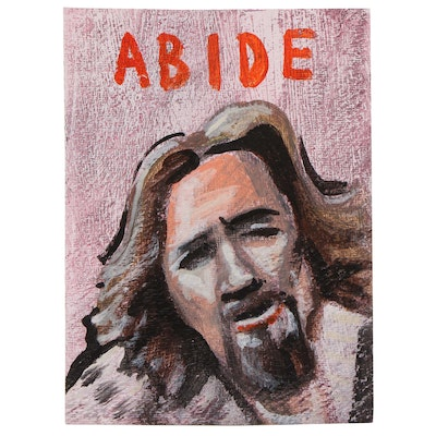 "N. Scott Carroll Outsider Art Acrylic Painting ""ABIDE"""