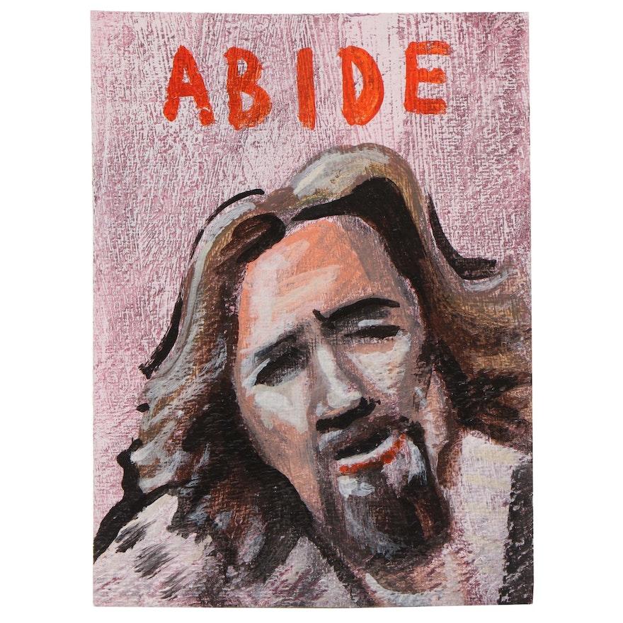 "N. Scott Carroll Outsider Art Acrylic Painting ""ABIDE"""
