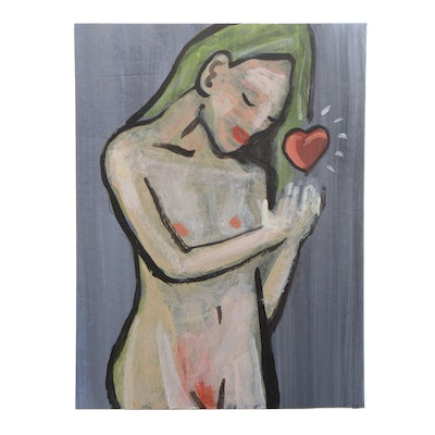 N. Scott Carroll Female Nude Outsider Art Acrylic Painting