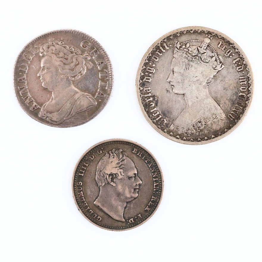 Three British Silver Coins of Queen Anne, King William IV and Queen Victoria
