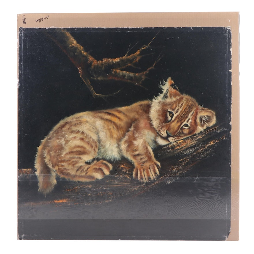 Sonia Gil Torres Oil Painting of a Lion Cub