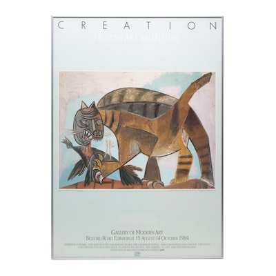 "Offset Lithograph Exhibition Poster after Pablo Picasso's ""Cat and Bird"""
