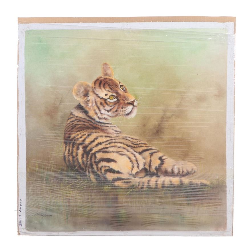Sonia Gil Torres Oil Painting of a Tiger Cub