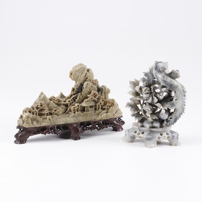 Chinese Carved Soapstone Sculptures