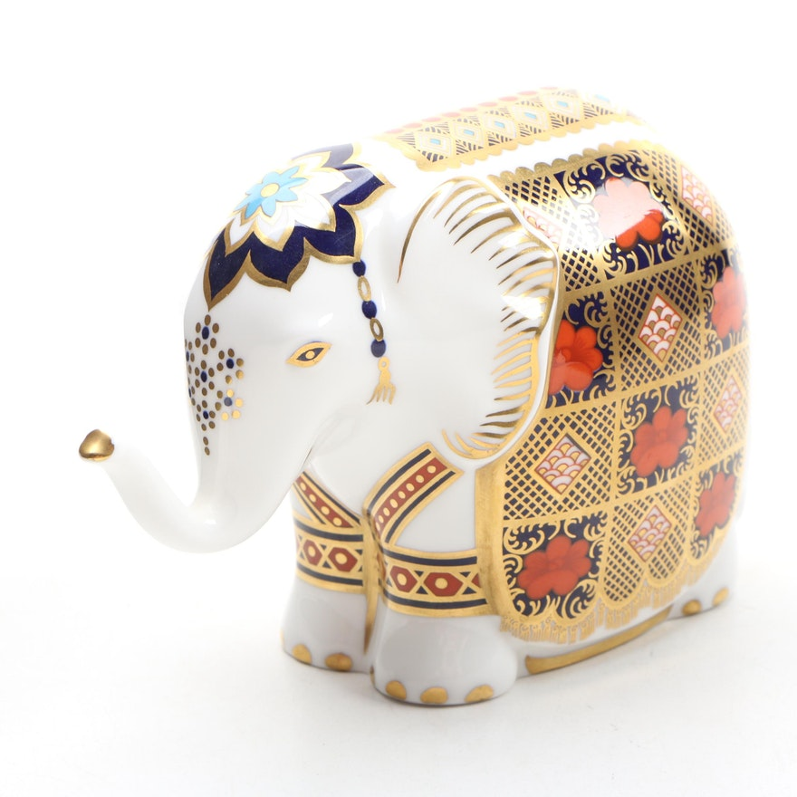 "Royal Crown Derby ""Imari Elephant"" Bone China Paperweight, 1990"