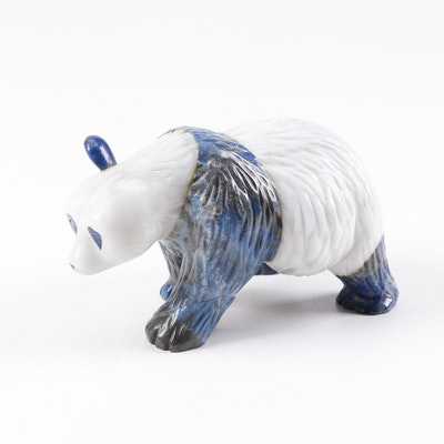 Chinese Carved Lapis Lazuli and Marble Panda Bear Figurine, Vintage