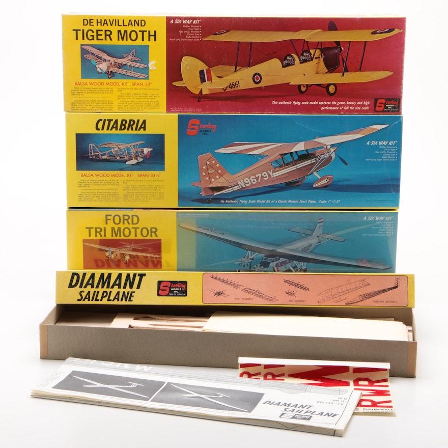 Sterling Models Inc. Balsa Wood Flying Model Kits, Mid 20th Century