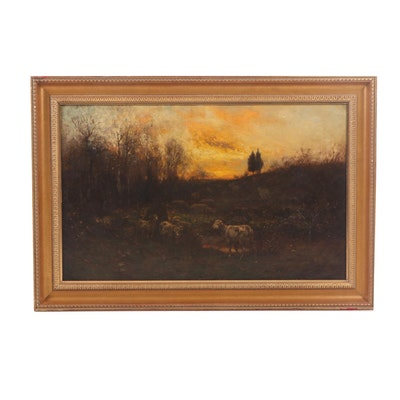 Pastoral Oil Painting Attributed to Carleton Wiggins