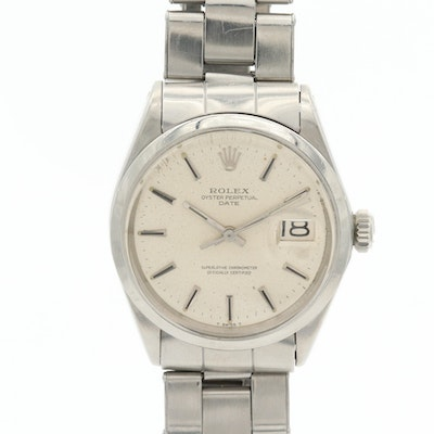 Vintage Rolex Oyster Perpetual Date Stainless Steel Automatic Wristwatch, 1970