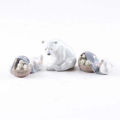 "Lladró ""Polar Bear"" and ""Duckling"" Porcelain Figurines"