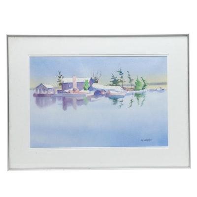 Lou Charton Aquatic Landscape Watercolor Painting