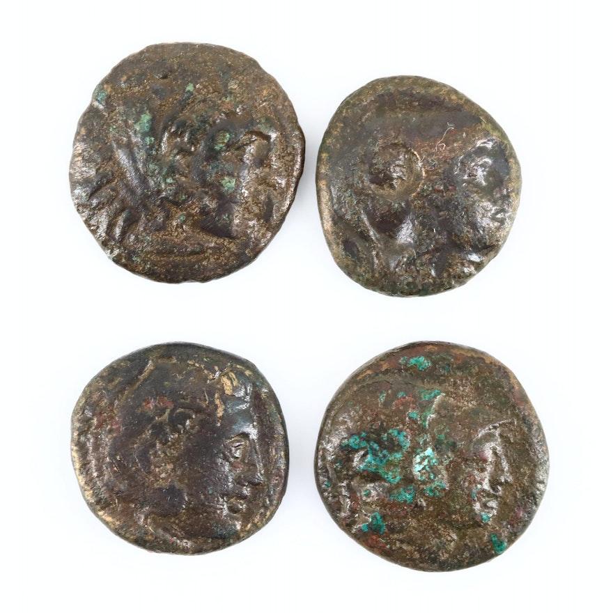 Four Ancient Macedonian AE19 Coins, ca. 300-220 B.C.