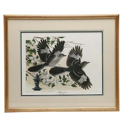 "John Ruthven Offset Lithograph ""Mockingbirds"""