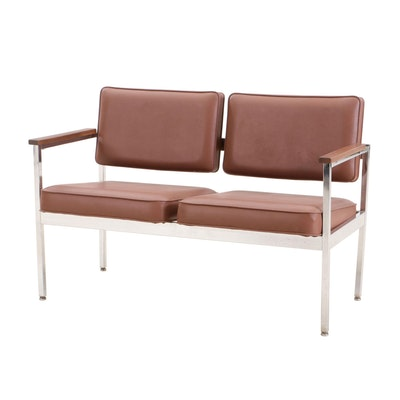Mid Century Modern Chrome and Walnut Bench by United Chair Co.