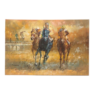 Anthony Veccio Horse Racing Oil Painting