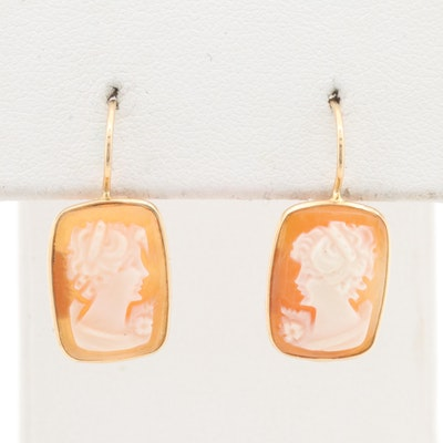14K Yellow Gold Helmet Shell Cameo Drop Earrings