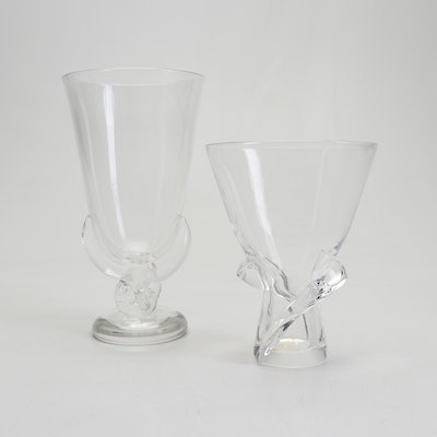 George Thompson for Steuben Crystal Vases, Mid 20th Century