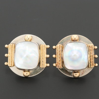 Arlene Siwek Sterling Cultured Pearl Earrings with 14K Yellow Gold Accents