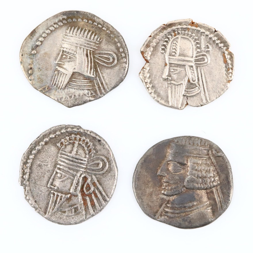 Four Different Ancient Parthian Kingdom AR Drachm Coins, ca  57 B C  to 228  A D