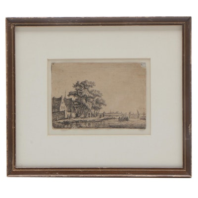 "Anthonie Waterloo Etching ""Churchyard at the Waterside"""