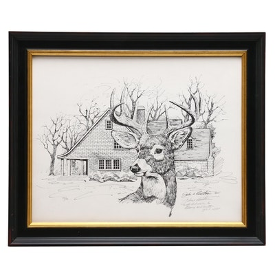 John Ruthven Lithograph of Suburban Deer