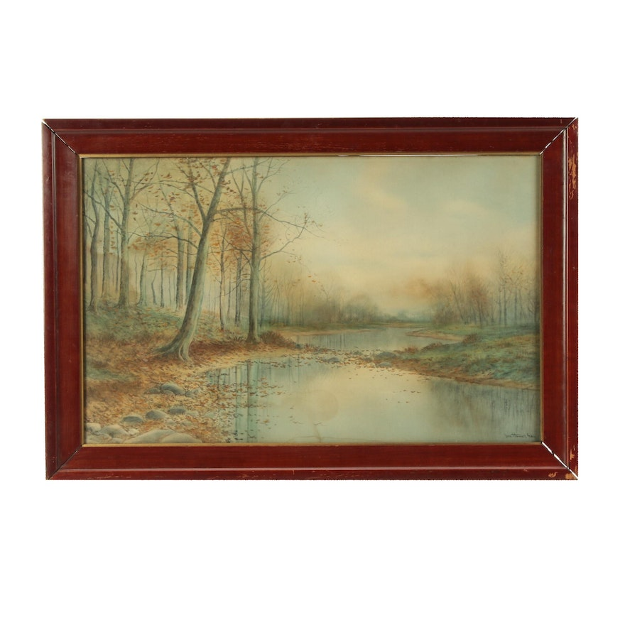 George Howell Gay Watercolor Landscape Painting