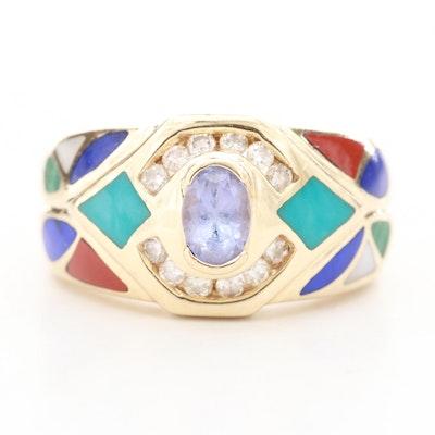 14K Yellow Gold Tanzanite, Diamond, Turquoise and Gemstone Inlay Ring