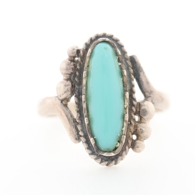 Southwestern Style Sterling Silver Glass Ring Ring