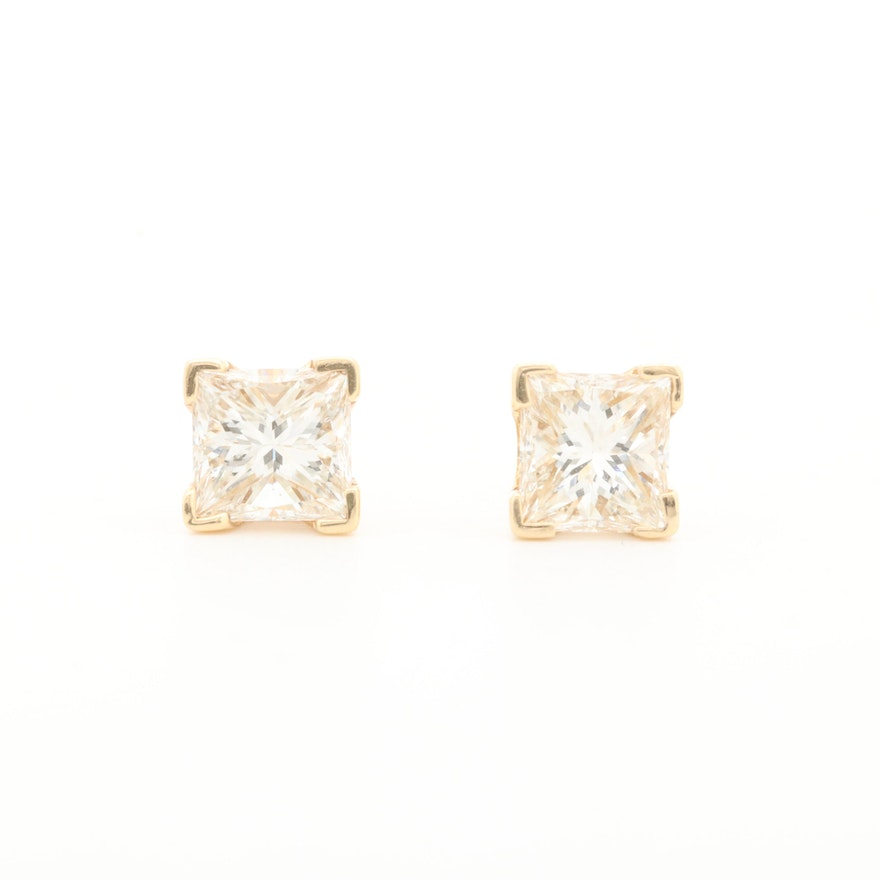 14K Yellow Gold 1.02 CTW Diamond Solitaire Stud Earrings