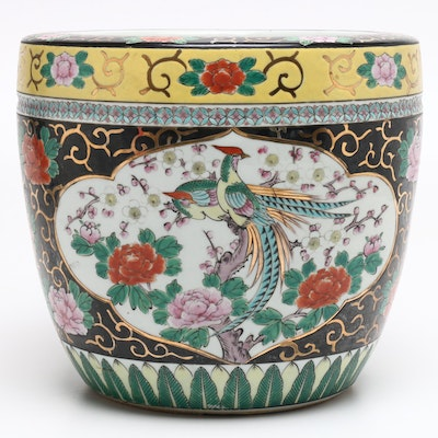 Chinese Famille Noire Style Porcelain Planter