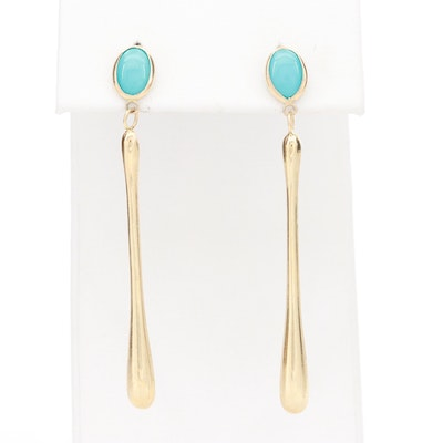 14K Yellow Gold Turquoise Dangle Drop Earrings