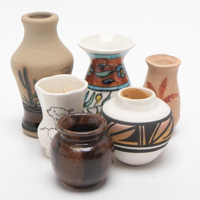 Mesa Verde and Mexican Pottery Vases with Alaskan Ceramic Holder, Late 20th C.