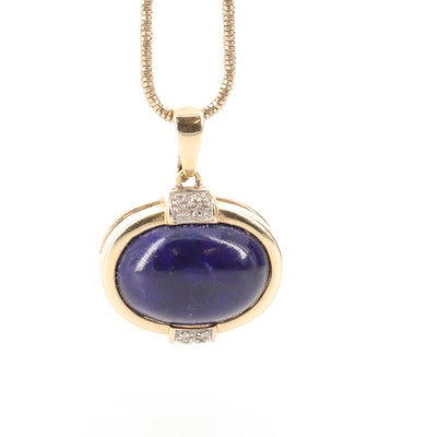 14K Yellow Gold Lapis Lazuli and Diamond Enhancer Pendant Necklace