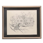 John Ruthven Lithograph of Perched Bob White Quail