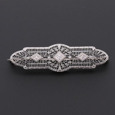 Art Deco 14K White Gold and Platinum Diamond Bar Brooch