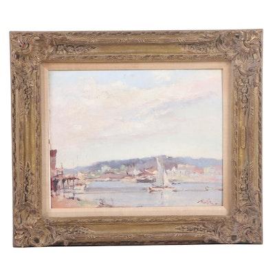Arnold Turtle Oil Painting of Harbor Scene