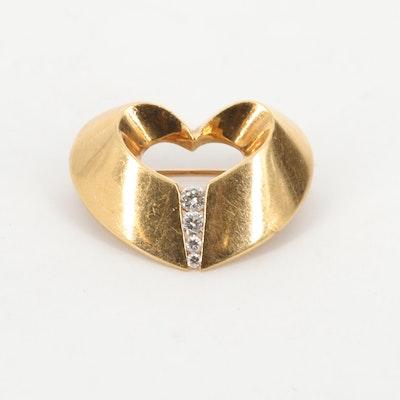 Charles Krypell 18K Yellow Gold Diamond Heart Brooch