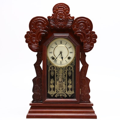 Carved Walnut Gingerbread Mantel Clock, Late 20th Century