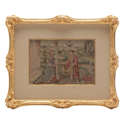 Miniature Needlepoint Tapestry of Figures in Garden