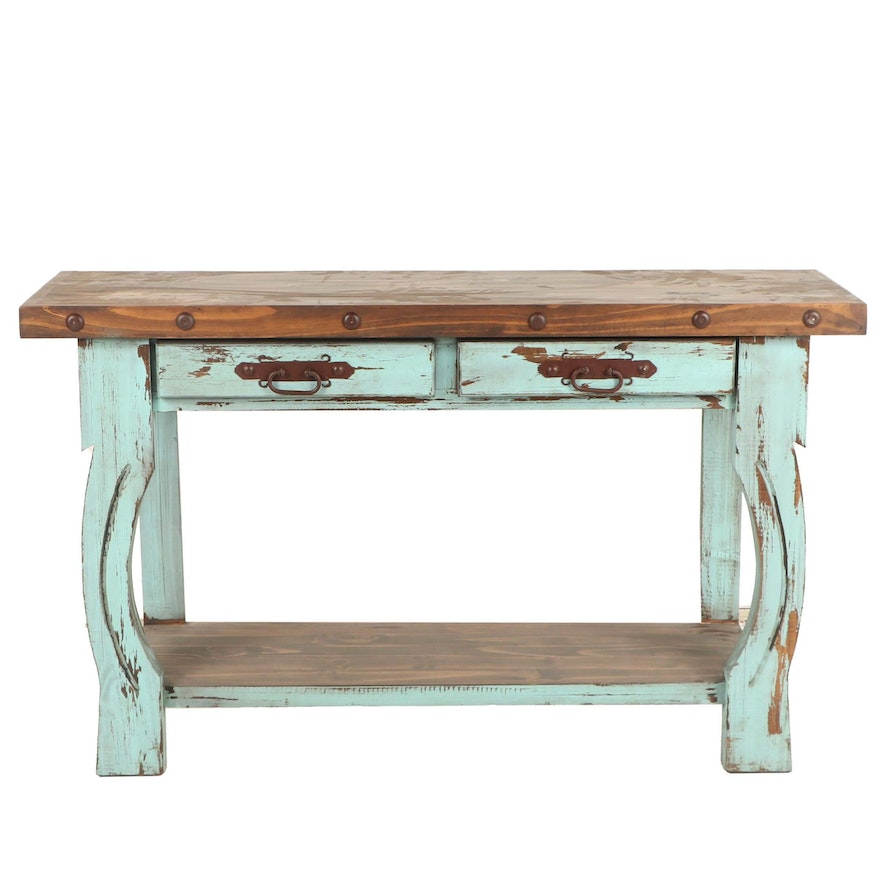 Admirable Contemporary Rustic Console Table With Distressed Painted Finish Machost Co Dining Chair Design Ideas Machostcouk