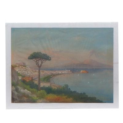 19th Century Neapolitan Landscape Gouache Painting