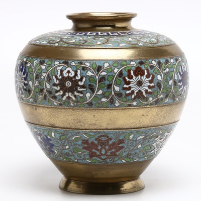 Chinese Cloisonné and Brass Vase, Early 20th Century