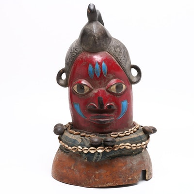 Handcrafted African Tribal Mask Wood Carving with Sea Shells, Mid-20th Century