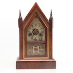 Gilbert Manufacturing Company Walnut Steeple Clock, Late 19th to Early 20th C.