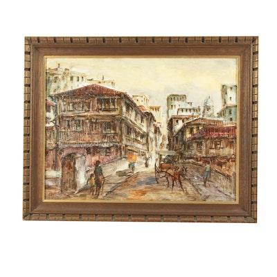 Mid Century Street Scene Oil Painting